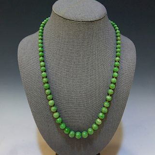 CHINESE NATURAL GRADE A JADEITE BEADS NECKLACE