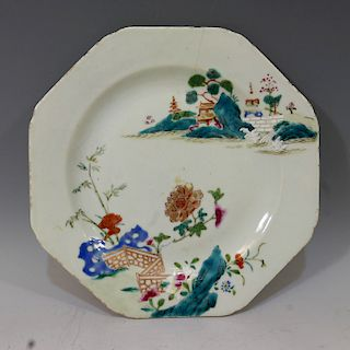 CHINESE ANTIQUE FAMILLE ROSE PLATE - QIANLONG PERIOD