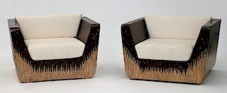 PR MCM Coconut Shell & Bamboo Veneer Club Chairs