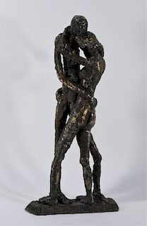 MCM Expressionist Wrought Iron Sculpture of Lovers