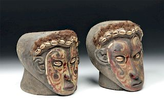 Pair of 20th C. Papua New Guinea Wooden Trophy Heads