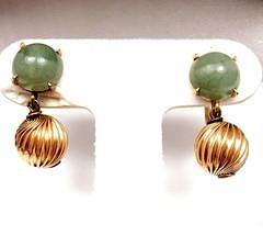 Vintage Estate 14k Yellow Gold Green Jade Screw Back Earrings