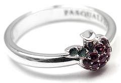 Pasquale Bruni TENTAZIONE 18k White Gold Apple Ruby and Tsavorite Ring