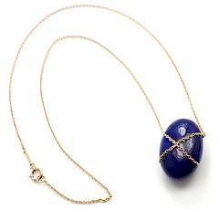 Tiffany & Co 18k Yellow Gold Large Lapis Lazuli Crossover Oval Pendant