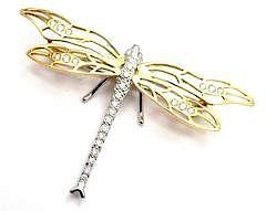 Vintage Henry Dankner 18k Yellow White Gold Diamond Dragonfly Pin