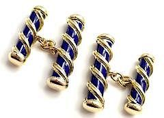 Tiffany & Co Jean Schlumberger 18k Yellow Gold Blue Enamel Cufflinks