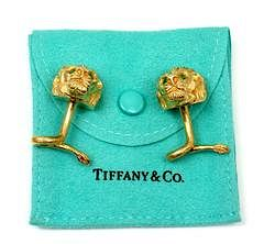 Tiffany & Co. 18k Yellow Gold Emerald Coiled Tail Lion Cufflinks