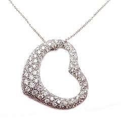 Tiffany & Co Peretti Platinum Diamond Open Heart Pendant