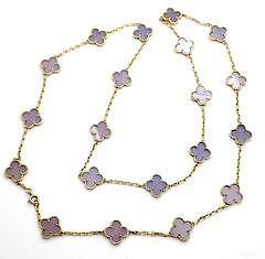 Van Cleef & Arpels 18k 20 Lavender Alhambra Necklace