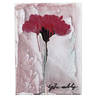Cy Twombly. Flower, mixed media on paper