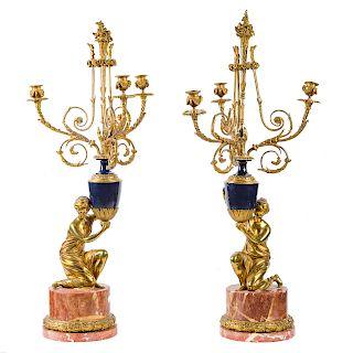 Pair Napoleon III bronze figural candelabra lamps