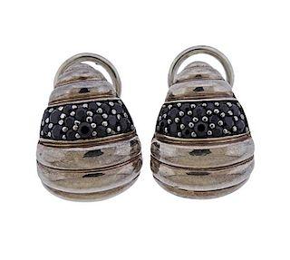 John Hardy Sterling Silver Black Stone  Earrings