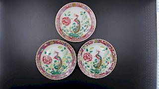 FAMILLE ROSE WHITE BASE PINK BORDER PHOENIX PLATES