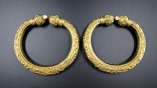 A PAIR OF GILDED NYONYA ANKLETS