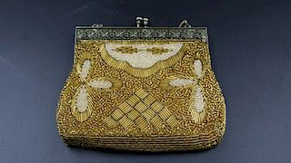 GOLD & PEARL BEADED PURSE & GILDED BUTTERFLY BRIDAL PENDANTS