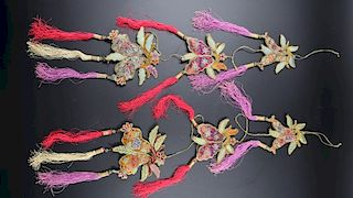 A RARE PAIR OF PADDED HANGING WEDDING-BED ORNAMENTS