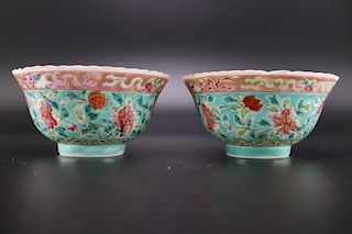 FAMILLE ROSE TURQUOISE GROUND PEONY BOWLS
