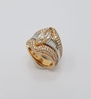 2.5ct Marquise Diamond & 18k Gold Ring