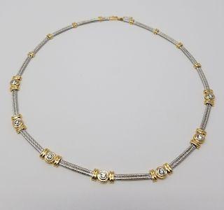 14k Yellow & White Gold Diamond Choker Necklace