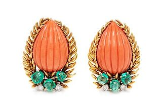 A Pair of 18 Karat Yellow Gold, Coral, Emerald and Diamond Earclips, David Webb, 16.70 dwts.