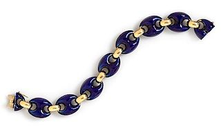 An 18 Karat Yellow Gold and Enamel Bracelet, Marchisio, 41.00 dwts.