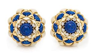 A Pair of 18 Karat Yellow Gold, Lapis Lazuli, Enamel and Diamond Domed Earclips, Italian, 26.50 dwts.