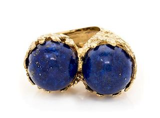 An 18 Karat Yellow Gold and Lapis Lazuli Twin Ring, 17.50 dwts.