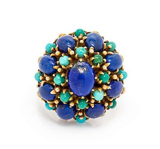 A 14 Karat Yellow Gold, Lapis Lazuli and Turquoise Ring, 9.90 dwts.
