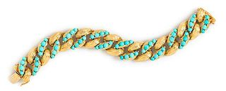 An 18 Karat Yellow Gold and Turquoise Curb Link Bracelet, 46.40 dwts.