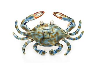 A 14 Karat Yellow Gold, Polychrome Enamel and Diamond Crab Brooch, 4.50 dwts.