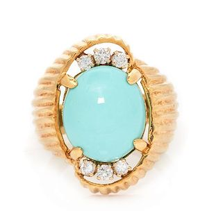 A 14 Karat Yellow Gold, Turquoise and Diamond Ring, 7.70 dwts.