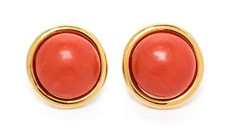 A Pair of 18 Karat Yellow Gold and Coral Earclips, Gump's, 14.55 dwts.