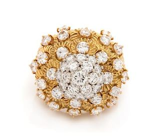 A Bicolor Gold and Diamond Bombe Ring, 12.90 dwts.
