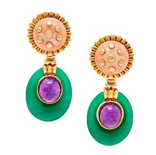 A Pair of 18 Karat Yellow Gold, Coral, Amethyst and Chalcedony Earclips, David Webb, 34.70 dwts.