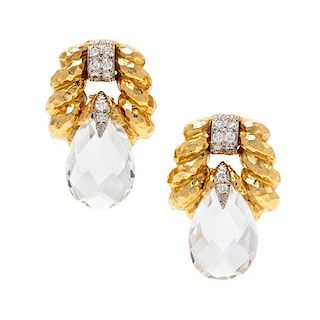 A Pair of 18 Karat Yellow Gold, Platinum, Rock Crystal and Diamond Earclips, David Webb, 19.95 dwts.