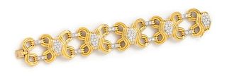 An 18 Karat Yellow Gold, Platinum and Diamond Bracelet, Montreaux, 58.90 dwts.