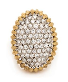An 18 Karat Bicolor Gold and Diamond Ring, Italian, 15.70 dwts.