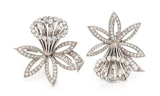 A Pair of Platinum and Diamond Daffodil Motif Clip/Brooches, French, 20.75 dwts.