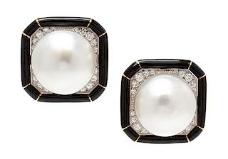 A Pair of 18 Karat Yellow Gold, Platinum, Cultured South Sea Pearl, Diamond and Enamel Earclips, David Webb, 18.25 dwts.