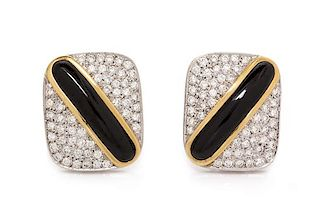 A Pair of 18 Karat Bicolor Gold, Diamond and Onyx Earclips, 12.80 dwts.