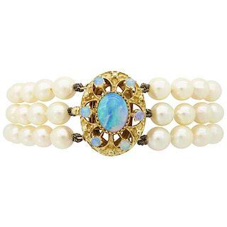 Estate 14k Triple Stranded Pearl and Opal Bracelet