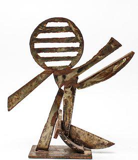 Peter Calaboyias Abstract Brutalist Iron Sculpture