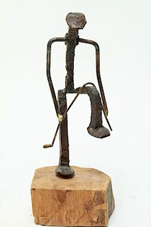 Brutalist Iron Nail Golfer Sculpture on Wood Base