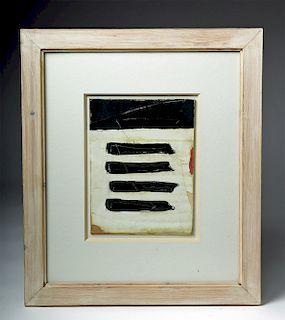 "A. Johnstone Mixed Media, ""Black Walled Ships"", 1994"