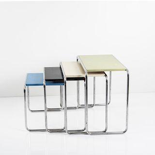 Marcel Breuer, Four 'B9' nesting tables, 1925/26