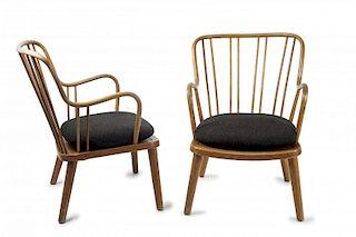 Fritz Hansen, Two armchairs, 1940/50s