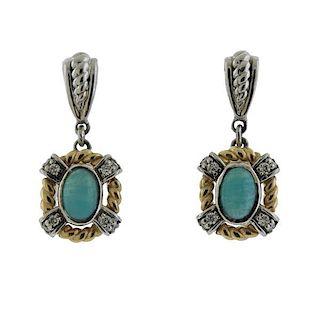 14K Gold Diamond Amazonite Dangle Earrings