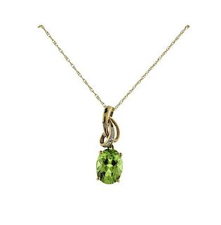 10K Gold Diamond Peridot Pendant Necklace