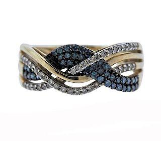 10K Gold Blue White Diamond Wave Band Ring