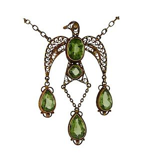 Antique Filigree 14k Gold Peridot Bird Pendant Necklace